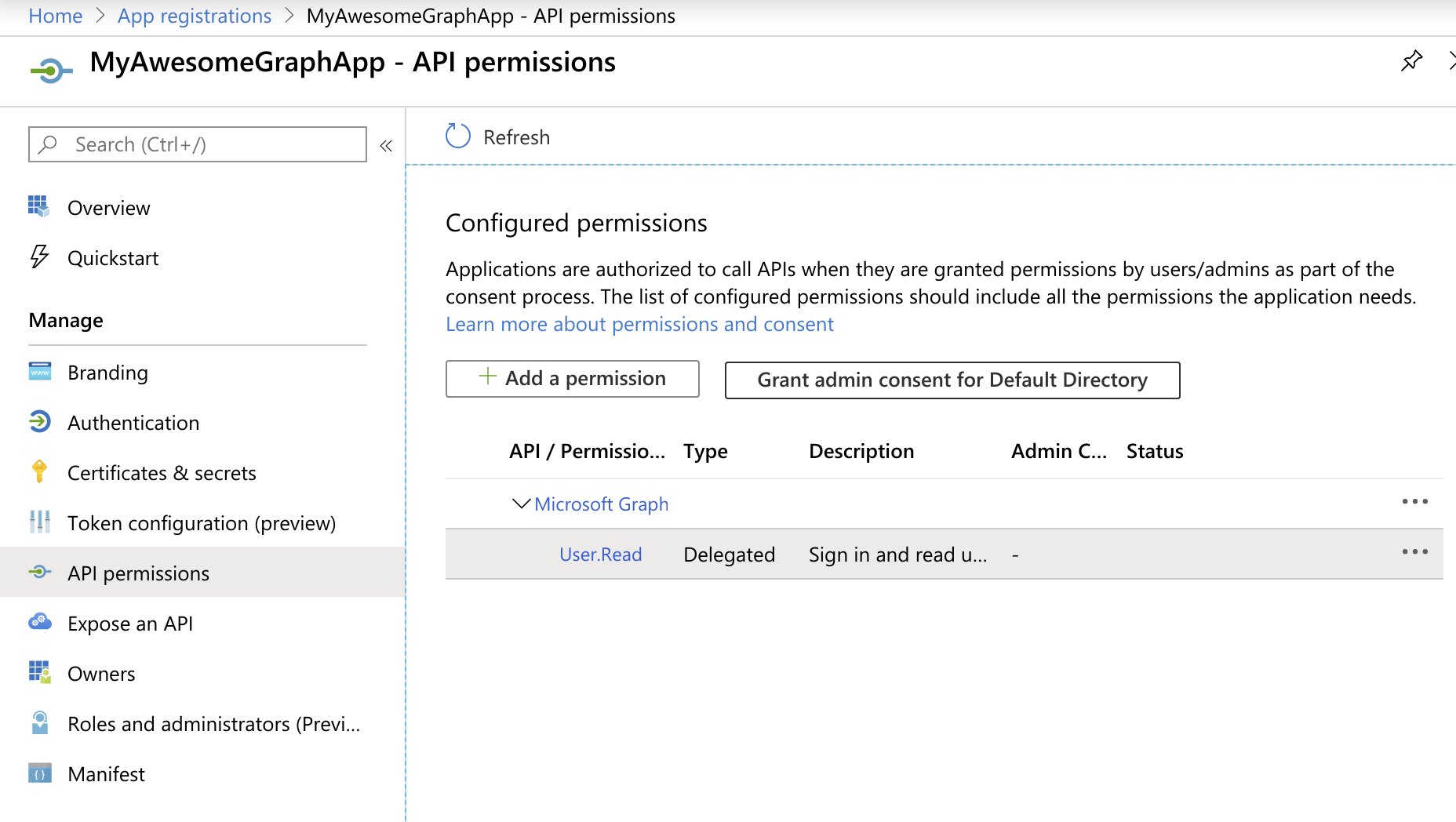 API permissions overview